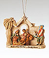 Holy Family with Little Drummer Boy Ornament, Fontanini