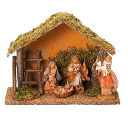 Fontanini 5 Inch Scale 4 Piece Nativity set with stable