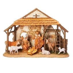 Fontanini 5 Inch Scale 8 Piece Nativity set with stable